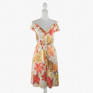 Zara Hawaiian Floral Linen Button Midi Dress   S
